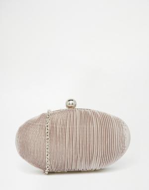 Vintage Styler Овальный плиссированный клатч. Цвет: серый