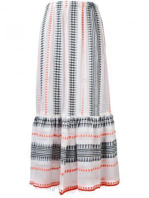 Длинная юбка с вышивкой Lemlem. Цвет: белый