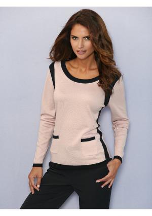 Пуловер Ashley Brooke. Цвет: песочный/черный, розовый/черный