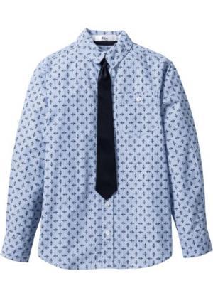 Рубашка с галстуком (белый/синий) bonprix. Цвет: белый/синий