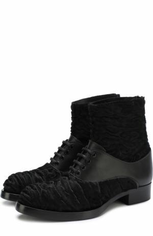 Кожаные ботинки S.Nova с отделкой из овчины Aleksandersiradekian. Цвет: черный