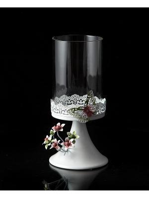 Подсвечник Бабочки Русские подарки. Цвет: белый