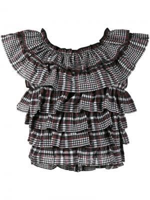 Блузка в клетку с оборками Charron Ganni. Цвет: коричневый