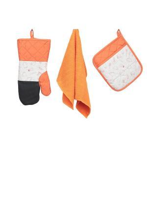 Набор кухонных принадлежностей с неопреном : рукавица, прихватка, полотенце ТекСтиль для дома. Цвет: оранжевый