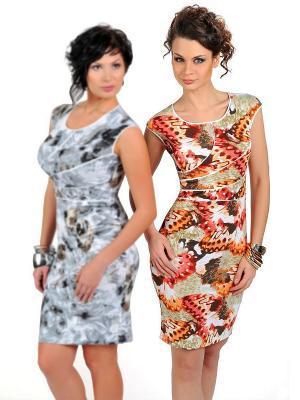 Платье Dea Fiori. Цвет: светло-коралловый, белый, серо-зеленый