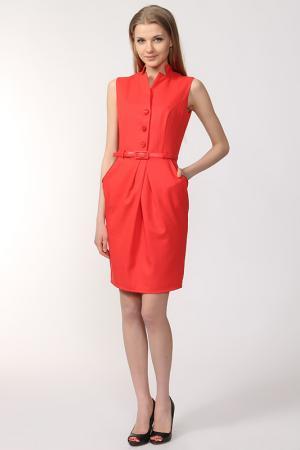 Платье с ремнем NIKA. Цвет: красный