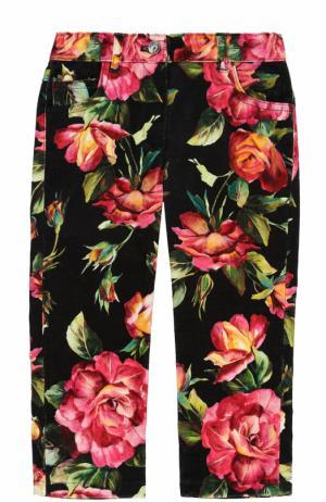 Джинсы прямого кроя с принтом Dolce & Gabbana. Цвет: черный