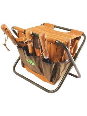 Стул складной для инструментов Esschert Design. Цвет: оливковый, светло-коричневый