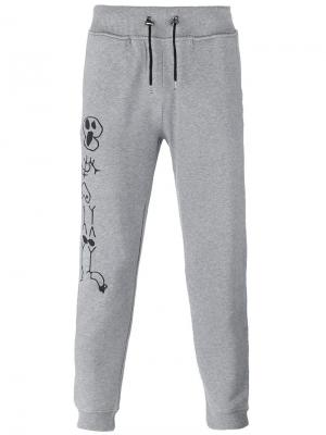 Спортивные брюки с принтом скелетов Hydrogen. Цвет: серый