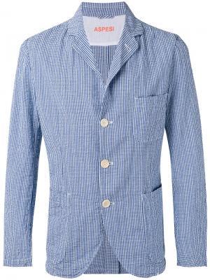 Пиджак в клетку Aspesi. Цвет: синий