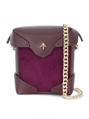 Фиолетовая мини-сумка на плечо Pristine Manu Atelier. Цвет: розовый и фиолетовый