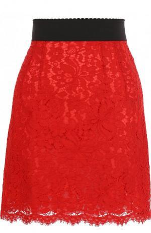 Кружевная мини-юбка с контрастным поясом Dolce & Gabbana. Цвет: красный