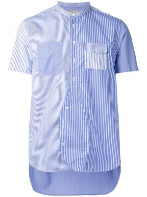Striped shortsleeved shirt Wooster + Lardini. Цвет: синий