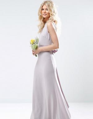 TFNC Petite Свадебное платье макси с сатиновым бантом сзади. Цвет: фиолетовый
