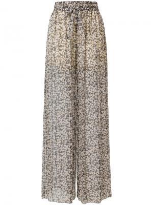 Прозрачные брюки с цветочным принтом Zimmermann. Цвет: телесный