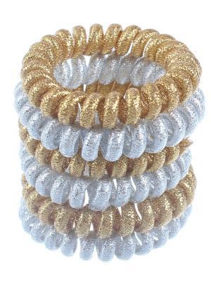 Резинки - спиральки для волос 5 см, текстильные серебро + золото, 6 штук Радужки. Цвет: серебристый,золотистый