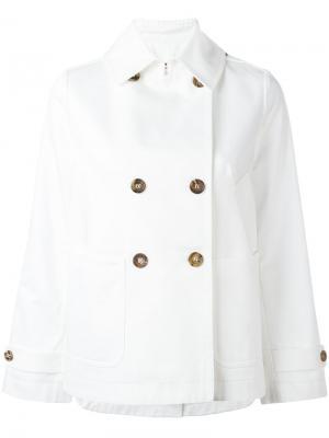 Двубортная куртка прямого кроя Alberto Biani. Цвет: белый