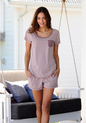 Пижама с шортами Arizona. Цвет: джинсовый меланжевый, светло-сиреневый меланжевый, темно-серый меланжевый