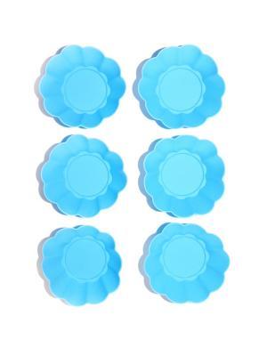 Набор силиконовых форм для кексов и маффинов, 6 шт DiMi. Цвет: голубой