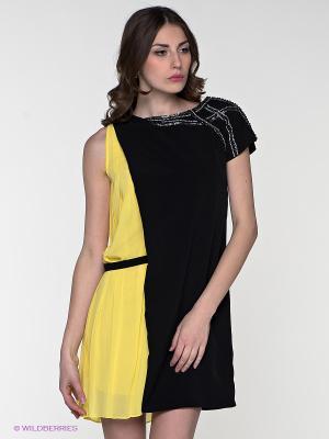 Платье LIFE TIME. Цвет: черный, желтый