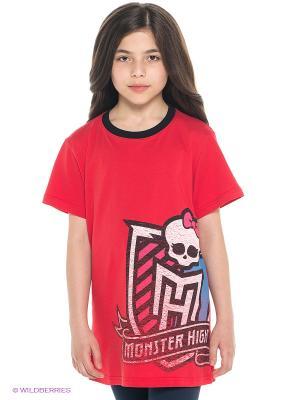 Футболка Monster High. Цвет: красный