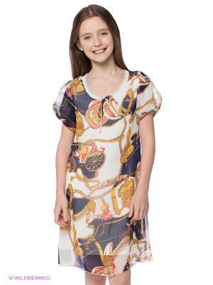 Платье Lussotico. Цвет: синий, молочный, желтый