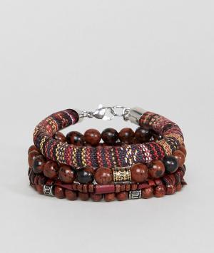 ASOS Набор браслетов с полудрагоценными камнями (коричневый/бордовый). Цвет: коричневый