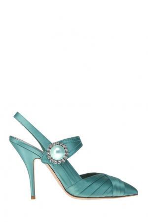 Зеленые туфли из сатина с кристаллами Miu. Цвет: голубой