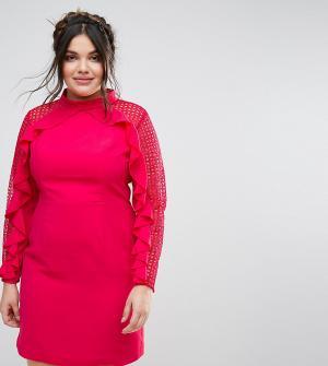 Truly You Платье-футляр с кружевными вставками и оборками. Цвет: мульти