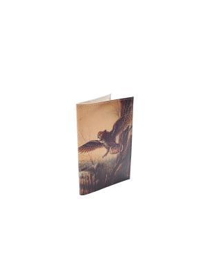 Обложка на паспорт Летящая сова Eshemoda. Цвет: коричневый