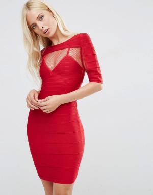Forever Unique Бандажное платье с короткими рукавами Anousha. Цвет: красный