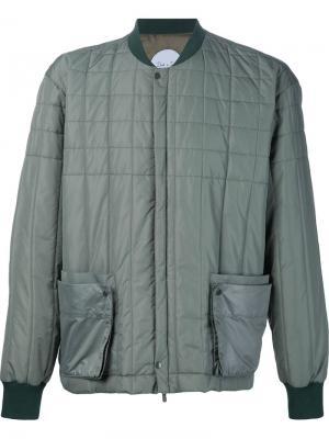 Стеганая куртка-бомбер Death To Tennis. Цвет: зелёный
