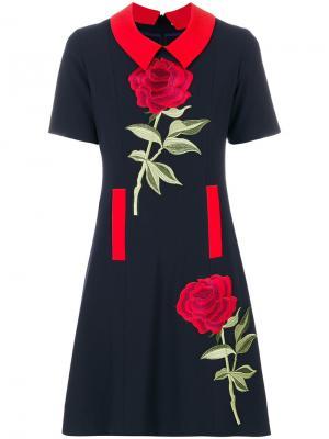 Платье с цветочной вышивкой Femme By Michele Rossi. Цвет: синий