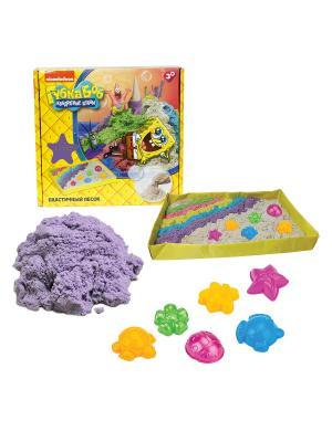 Губка Боб, космический песок, сиреневый 1 кг, набор песочница и формочки 1toy песок. Цвет: белый