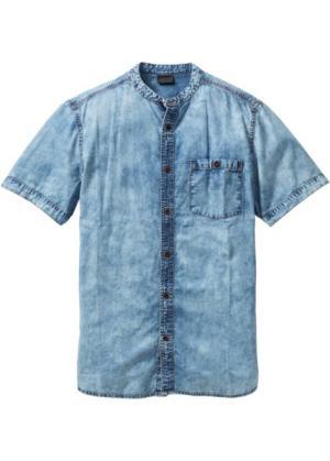 Джинсовая рубашка Slim Fit с коротким рукавом (синий «мраморный») bonprix. Цвет: синий «мраморный»