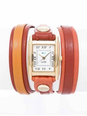 Часы La Mer Collections Layer Siena Mix Up. Цвет: светло-коралловый, коралловый, оранжевый