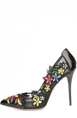 Кожаные туфли Alyssa с аппликациями Oscar de la Renta. Цвет: разноцветный