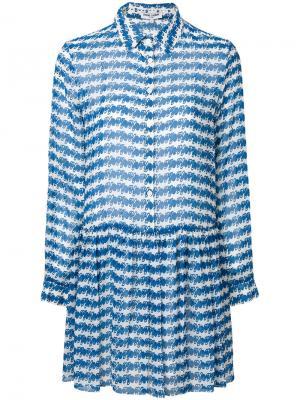 Платье-рубашка в полоску Opening Ceremony. Цвет: синий