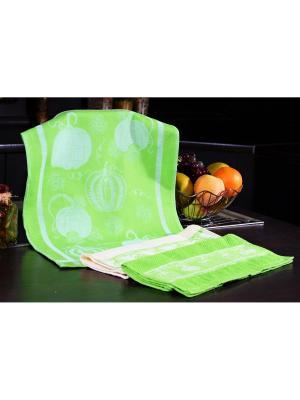 Набор кухонных полотенец ТЫКВА зелёный (2х3шт.) 40х60 TOALLA. Цвет: зеленый
