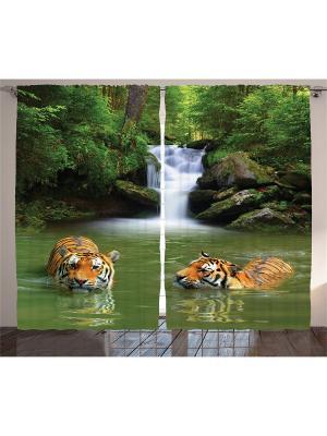 Комплект фотоштор для гостиной Тигры в водоёме, плотность ткани 175 г/кв.м, 290*265 см Magic Lady. Цвет: зеленый, белый, коричневый, оранжевый
