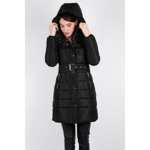 Куртка стеганая с капюшоном MOLLY BRACKEN. Цвет: черный