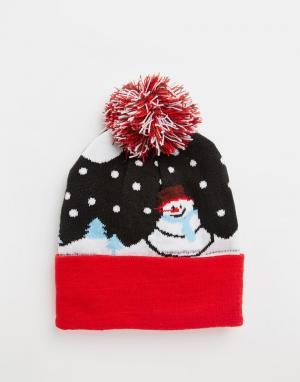 7X Шапка с помпоном и снеговиком. Цвет: синий