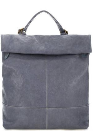 Вместительная сумка-рюкзак из натуральной кожи Bruno Rossi. Цвет: синий