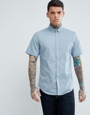 Farah Серая фактурная оксфордская рубашка узкого кроя с короткими рукавами F. Цвет: серый