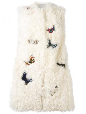 Жилет с вышивкой бабочек Valentino. Цвет: телесный