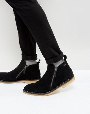 Kurt Geiger London Черные замшевые ботинки на молнии Otis. Цвет: черный