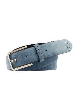 Матовый кожаный ремень Canali. Цвет: голубой