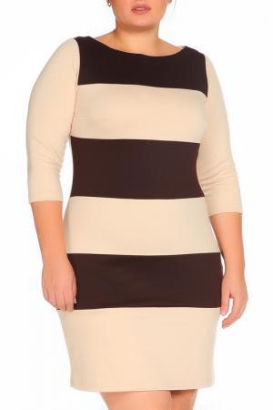 Утепленное повседневное платье La cafe. Цвет: бежевый, коричневый