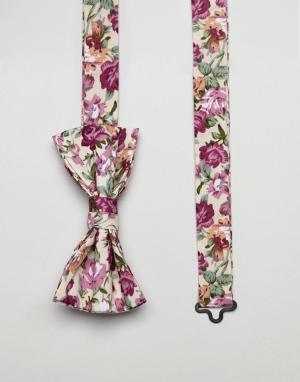 ASOS Галстук-бабочка с цветочным принтом DESIGN. Цвет: розовый