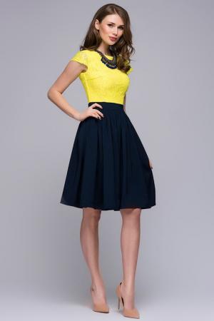 Платье 1001dress. Цвет: темно-синий, желтый